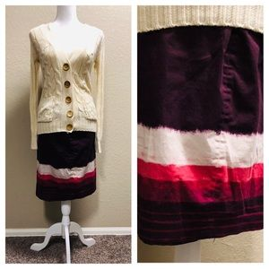 Ann Taylor maroon pink white tiered pencil skirt 8